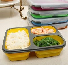 [Visit to Buy] Silicone Collapsible Portable Food Storage Container Large Capacity Bowl Lunch Bento Box Folding Lunchbox Eco-Friendly Lunch Box Containers, Food Storage Containers, Fruit Storage, Portable Food, Micro Onde, Bento Box Lunch, Lunch Boxes, Lunch Box Recipes, Food Grade