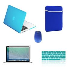 """awesome TopCase Macbook Pro 15"""" A1398 with Retina Display 5 in 1 Bundle - Rubberized Hard Case Cover (LATEST VERSION / No DVD Drive / Release June 2012) + Matching Color Soft Sleeve Bag +Wireless Mouse + Silicone Keyboard Cover + LCD HD Clear Screen Protector with TopCase Mouse Pad (Aqua Blue)"""