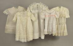 LOT 513 FIVE GIRLS' WHITE COTTON DRESSES, 1897 - 1925 - whitakerauction Bobbin Lace, Cutwork, Pink Satin, Irish Crochet, Vintage Children, Cotton Dresses, White Cotton, Ruffles, Vintage Outfits
