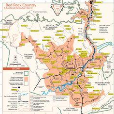 map of sedona arizona area hiking   Sedona Hiking Trails Map   Sedona AZ and Oak Creek Canyon