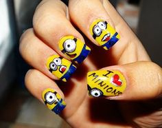 Find images and videos about love, nails and colors on We Heart It - the app to get lost in what you love. Funky Nail Art, Funky Nails, Cute Nails, Minion Nail Art, My Minion, Minions Minions, Smart Nails, Owl Nails, Minion Mayhem