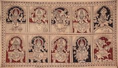 Kalamkari: Dashavatara (Ten Incarnations of Lord Vishnu) - Matshya, Kurma, Varaha, Narasimha, Vaman, Parashurama, Rama, Balarama, Krishna and Kalki