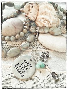 Beach, summer, and sunny memories. Hand stamped necklace with a spare spoon. Hand Stamped Necklace, Aqua Blue, Sunnies, Spoon, Pearl Necklace, Jewelry Making, Memories, Jewellery, Pearls