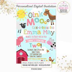 Farm Invitation Girls Farm Invitation Pink by PixelPerfectionParty