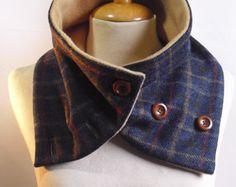 Unisex // Brown Wool Tweed & Fleece NECKWARMER // Cowl Scarf