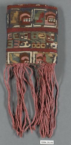 Bag with Fringes, Huari culture, Peru. The Wari (Spanish: Huari) were a Middle Horizon civilization that flourished in the south-central Andes and coastal area of modern-day Peru, from about AD 500 to 1000. Metropolitan Museum of Art