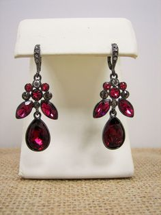 Givenchy PRAD Ruby Red and Pink Crystal Teardrop Dangle Earrings MSRP $68 #Givenchy #DropDangle Only $47.99 with free shipping!