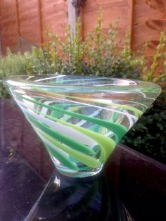 Vintage shades of green white clear swirled thick glass bowl art glass candy