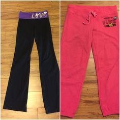 2 pairs XS PINK yoga pants & Capri sweats Black yoga pants haven't been worn much, a bit too small. Pink ones have been worn and loved! Baggy/slouchy fit! Little bit of pilling not significant. Size XS no holes or major stains.  I usually wear a small and these fit me. Bundle please! PINK Victoria's Secret Pants Track Pants & Joggers