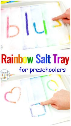 A Rainbow Salt Tray is a fun way to improve pre-writing skills, Children can use a Montessori Salt Tray and sensory writing trays for Preschoolers, Se. Writing Activities For Preschoolers, Preschool Writing, Art Therapy Activities, Montessori Activities, Preschool Lessons, Kindergarten Activities, Classroom Activities, Preschool Crafts, Toddler Activities