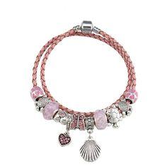 Charm Bracelet- Pink- Seashell- Heart Hamsa, Sterling Silver Bracelets, Sea Shells, Pendants, Heart, Unique, Earrings, Pink, Ear Rings