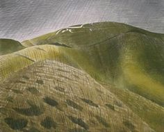 Eric Ravilious (1903-1942), English painter, designer, illustrator and wood engraver from the 1930s.  He was inspired by the landscape of the Sussex  Downs and lived in Eastbourne (near where I live) for most of his life.  I like this watercolour (of the Uffington white horse on the Berkshire Downs), which seems both very English and very modern.  Ravilious was an official war artist and died in the Second World War.