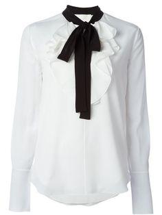 Chloé Blusa de seda com laço contrastante