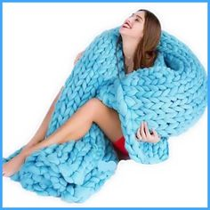 6 Colors Photo Taking Props Thick Line Knitted Blanket Blending Anti-Pilling Super Soft Used in Bed Sofa Plane Cobertor Blanket
