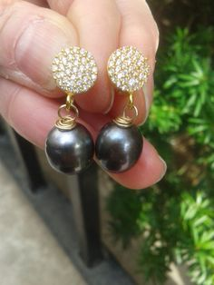 Genuine Black Tahitian Pearl and 24 K gold vermeil by mesolady64