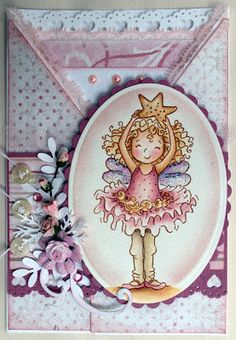 Stampavie, Tina Wenke, Girl Criss Cross card, Distress Ink