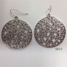 Silver Round Clover Cut Out with Clear Crystal Wire Earrings 1 1/2""
