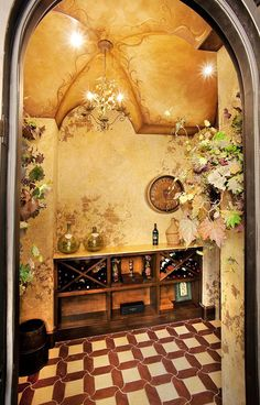 painted ceiling & walls in wine room Tuscan Style Homes, Tuscan House, Cafe Bar, Toscana Italia, Home Wine Cellars, World Decor, Under The Tuscan Sun, Tuscan Design, Mediterranean Decor