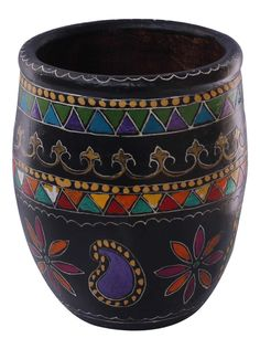 "Bulk Wholesale Handmade 7"" Black Flower Vase / Planter in Terracotta Decorated with Colorful Motifs in Cone-Painting Art – Ethnic Look Vases from India – Home / Garden Décor"