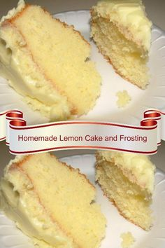 Homemade Lemon Cake and Frosting. A moist and fluffy lemon layer cake with homem… Homemade Lemon Cake and Frosting. A moist and fluffy lemon layer cake with homemade lemon cream cheese frosting. A dessert recipe you will make over and over. Lemon Desserts, Lemon Recipes, Mini Desserts, Just Desserts, Baking Recipes, Delicious Desserts, Dessert Recipes, Yummy Food, Brownie Desserts