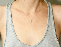 Silver horseshoe necklace  delicate silver necklace  par SeaAndCake, $74.00