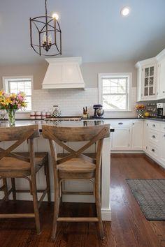 My kitchen! Custom Woodcraft cabinetry, Wolf range, white oak floors, San Gabriel polished granite, Ballard Design carriage house chandelier, World Market French Bistro counter stools. J Hence & Co. Contractor. Love my kitchen!