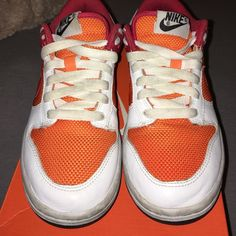 Nike Dunks Mint condition Nike Dunks!!!!red, orange, white, grey bottom trim, black sole. Nike Shoes Sneakers