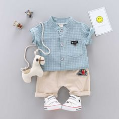 Baby/ Toddler Boy's Plaid Shirt and Baseball Hat Applique Shorts Matching Family Outfits, Baby Outfits Newborn, Cute Baby Clothes, Kids Wear, Latest Fashion For Women, Toddler Boys, Baby Dress, Cute Babies, Kids Outfits