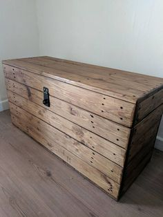 Rustic wooden storage trunk/chest. Handmade from reclaimed pine & yew with a hinged Clamshell lid and lockable hasp The wood is selected for size and characteristics before being sanded to reveal its natural beauty. The pieces are then assembled using quality wood screws for
