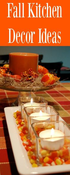 Fall Kitchen Decor Ideas that will get the family excited about the fall season. Fall Kitchen table settings and decorations that you can do yourself. Lots of DIY Fall Kitchen Decor ideas.