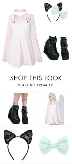 """Gothic DDLG"" by that-weird-kid-jade ❤ liked on Polyvore featuring Demonia, Macaron Hombeth, Maison Close, Forever 21 and Humble Chic"