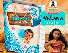 Moana Favor Bag - Moana Birthday Party - Instant Download - Printable Party Bag - Treat Bag - Moana Printables - Moana Party Decor