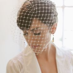 12″ RETRO NET BLUSHER VEIL | Erica Elizabeth Designs wedding accessories, bridal veils, crowns