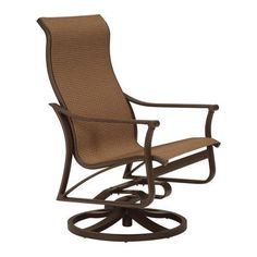 Tropitone Corsica Sling Swivel Action Lounge Rocking Chair Fabric: Sparkling Water, Finish: Obsidian