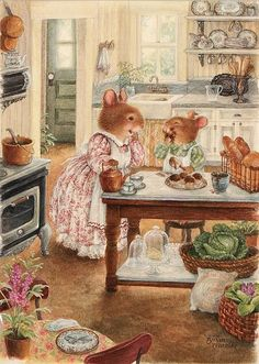 Helping Mama in the kitchen... - by artist Susan Wheeler <> (art, children's illustrations)