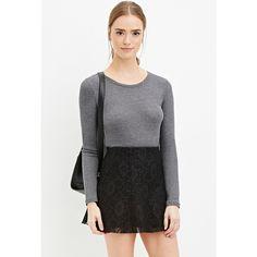 Forever 21 Women's  Floral Lace Skater Skirt ($18) ❤ liked on Polyvore featuring skirts, floral skater skirt, lace overlay skirt, forever 21, elastic waist skirt and flared skirt