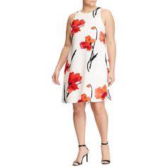 Lauren Ralph Lauren Plus Crepe A-Line Dress ($160) ❤ liked on Polyvore featuring plus size women's fashion, plus size clothing, plus size dresses, flower print dress, white floral dress, crepe dress, a line dresses and pocket dresses