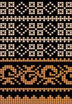 Worki mochilla i wayuu Tapestry Crochet Patterns, Fair Isle Knitting Patterns, Fair Isle Pattern, Knitting Charts, Knitting Stitches, Bead Loom Patterns, Cross Stitch Patterns, Crochet Shell Stitch, Crochet Chart