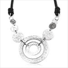 Multi Rings Style PU Leather Necklace Pendants Neck Chain Clavicle Chain Sweater Necklace Decoration Ornament