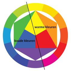 Warme kleuren/ Koude kleuren.  KleurcontrastBij een warm-/koud-contrast gaat het om de tegenstelling tussen warme en een koude kleur die naast elkaar gebruikt zijn. Rode en oranje kleuren lijken warmer dan blauwe.