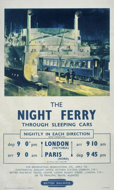 'The Night Ferry', BR poster, 1953., Barber jul16