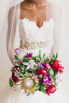 bold + glam bouquet with king protea by Hey Gorgeous Events   Bradley James