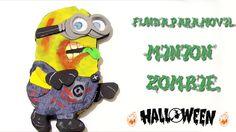 Manualidades para Halloween, funda de móvil de foami Minion Zombie