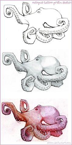 Octopus tattoo prelim sketch by kitton, Bosquejo preliminar del tatuaje de pulpo por kitton, Octopus Sketch, Octopus Drawing, Octopus Tattoo Design, Octopus Tattoos, Octopus Art, Nautical Art, Cthulhu, Tattoo Sketches, Painting & Drawing