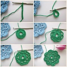 Maybelle Crochet Flower Tutorial in pictures, with link to original pattern. by www.MyRoseValley.blogspot.com © Annette Ciccarelli 2013