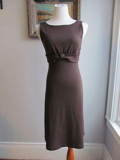 BANANA REPUBLIC Solid Brown Wool Blend Sleeveless Empire Waist Dress Size M #BananaRepublic #EmpireWaist #WeartoWork