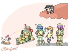 Just TMNT by Neko-mirichan.deviantart.com on @deviantART | I love Raph and Ice Cream Kitty in this picture. So funny!
