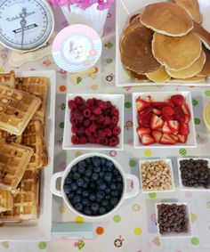 waffle bar, make sure to have can whip cream, berries, nuts, syrup