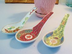 Vintage Asian Chinese Porcelain Soup Spoons by ClairesFaire, $14.00