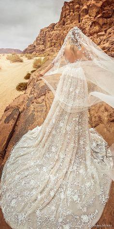 oksana mukha 2018 bridal three quarter sleeves sweetheart neckline full embellishment princess a line wedding dress with pockets open back royal train (lilana) bv